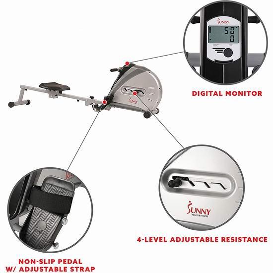 手慢无!减肥神器 Sunny Health & Fitness SF-RW5606 家用磁阻划船机/划艇机6.2折 164加元包邮!