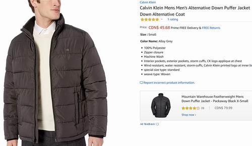 白菜价!Calvin Klein 男士保暖夹克 45.68加元(S码),原价 171.16加元,包邮