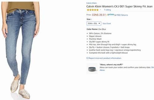 Calvin Klein CKJ 001 女士紧身牛仔裤 28.51加元(30W×30L)