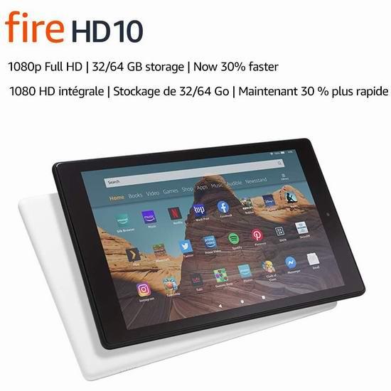 Fire HD 10 10.1英寸全高清平板电脑(32GB/64GB) 159.99-199.99加元包邮!2色可选!