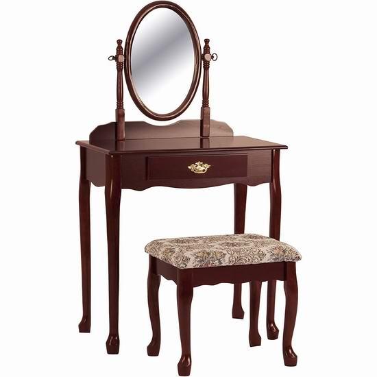 Crown Mark 复古梳妆台桌椅两件套 166.38加元包邮!