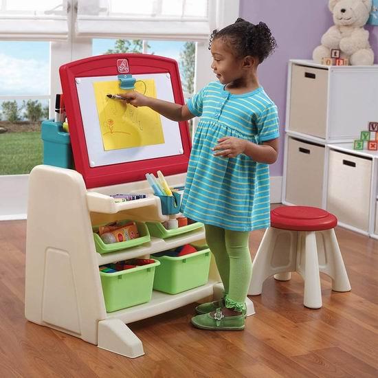 Step2 Flip and Doodle Easel 二合一涂鸦画板/儿童书桌+凳子套装 89.97加元包邮!