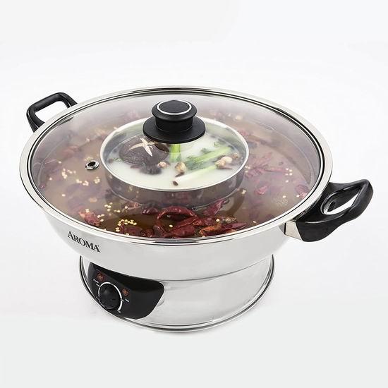 Aroma Housewares ASP-600 中式传统 家用不锈钢电火锅 70.72加元包邮!内附各地火锅做法!