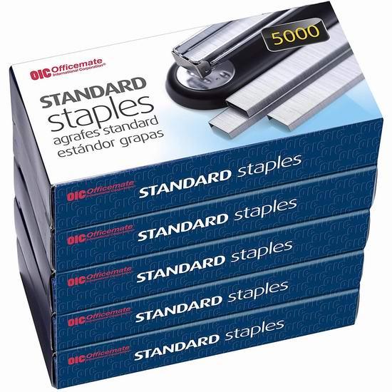 历史新低!Officemate  标准订书钉(5000 x 5盒)3.5折 8.09加元!
