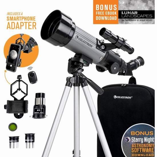 Celestron 星特朗 Travel Scope 70 DX 旅行者 天文望远镜 131.76加元包邮!支持手机观察、拍摄!
