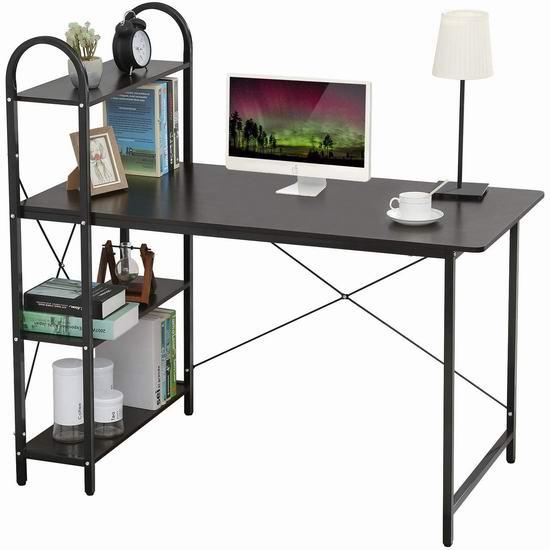 HOME BI 一体式书架+书桌 118.99加元包邮!3色可选!