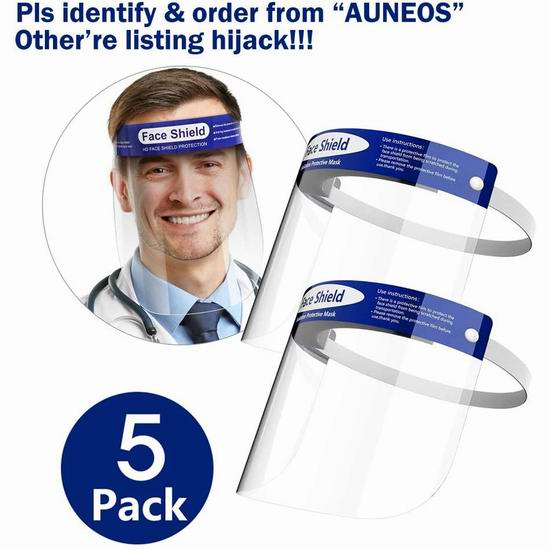 AUNEOS 防护面罩5件套4.4折 27.88加元!