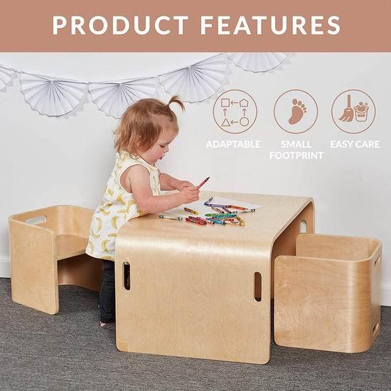 ECR4Kids 天然环保 多功能 儿童曲木桌椅3件套6.2折 169.99加元包邮!