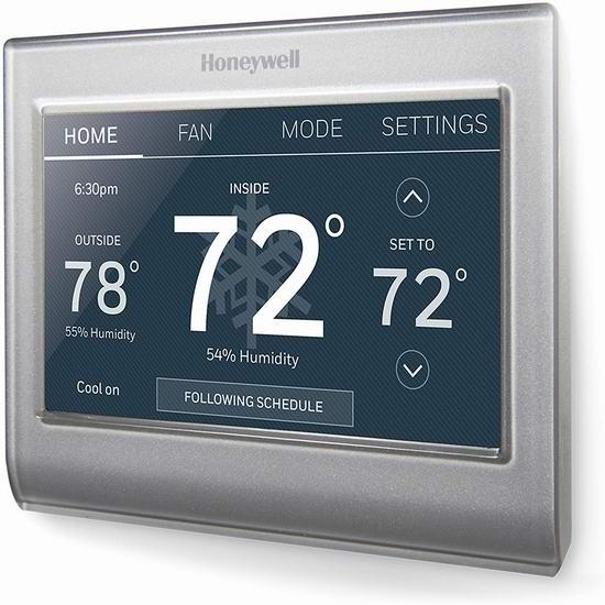 Honeywell RTH9585WF1004/W Wi-Fi 彩色触摸屏 家用智能温控器6.4折 159加元包邮!
