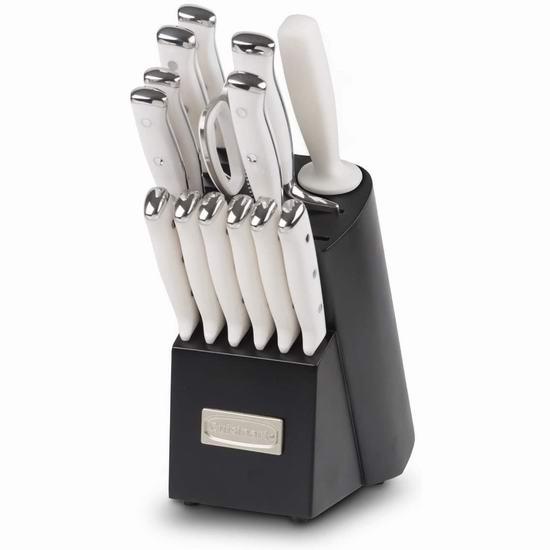 历史最低价!Cuisinart 美康雅 TRE-15WNC 德国不锈钢 厨房刀具15件套2.2折 79.99加元包邮!