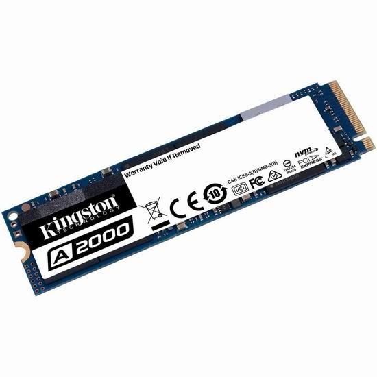 历史新低!Kingston 金士顿 A2000 M.2 2280 NVMe PCIe 1TB 固态硬盘 179.99加元包邮!