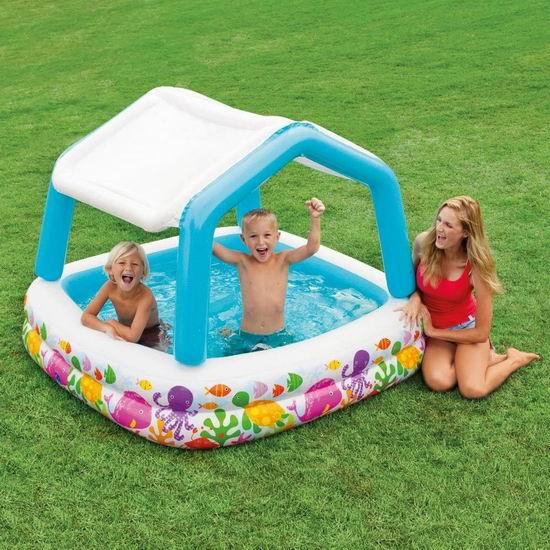 Intex Sun Shade 带遮阳棚 儿童充气戏水游泳池5.9折 44.06加元包邮!