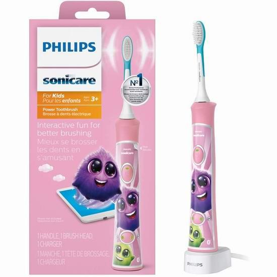 历史新低!Philips 飞利浦 HX6351/41 Sonicare 声波震动 粉色 蓝牙版儿童电动牙刷 44.01加元包邮!