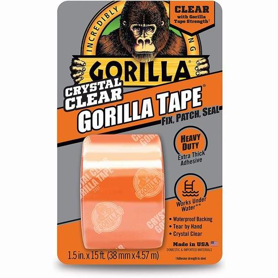 历史最低价!Gorilla 大猩猩 Crystal Duct 透明防水胶带(3.8厘米 x 4.57米)2.6折 6.47加元!居家修补万能小帮手!