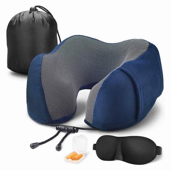 久坐福音,保护颈椎!Aisports 舒适U型 记忆海绵护颈枕5.4折 13.99加元!送眼罩+耳塞!3色可选!