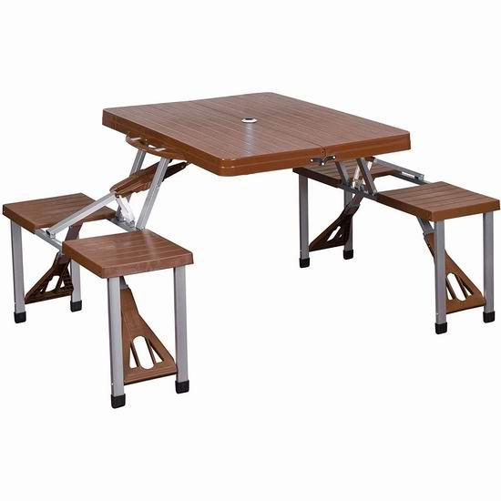 Stansport 便携式折叠餐桌椅+遮阳伞套装 85.24加元包邮!户外庭院野餐必备!