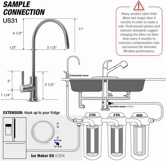 iSpring RCC7AK 3级 无罐式 家用水过滤系统 139.2加元包邮!
