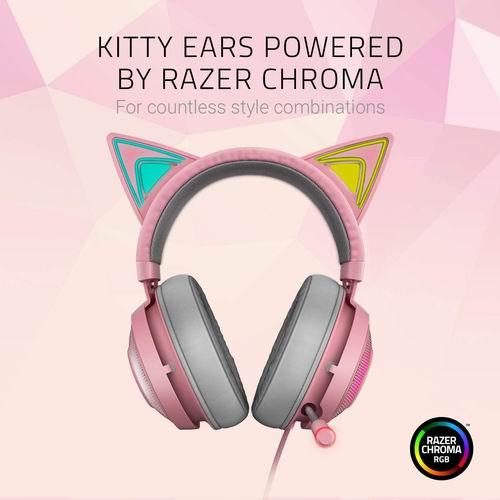 Razer 雷蛇  Kraken Kitty RGB USB北海巨妖粉晶版爆款游戏耳机 188.78加元,原价 219.99加元,包邮