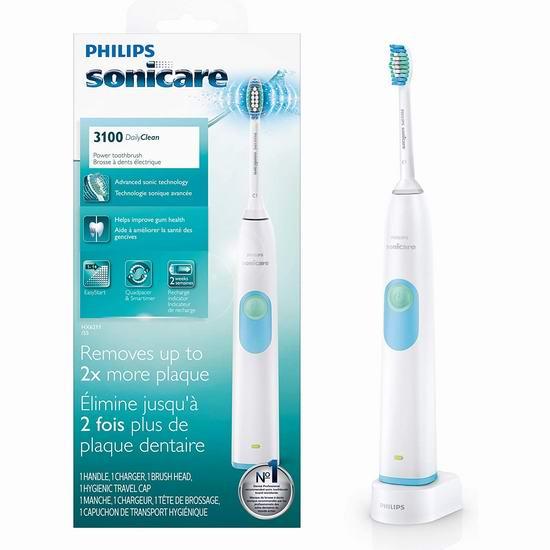 历史最低价!Philips 飞利浦 HX6211/55 Sonicare DailyClean 3100 声波电动牙刷5折 30加元!黑五价再降10加元!