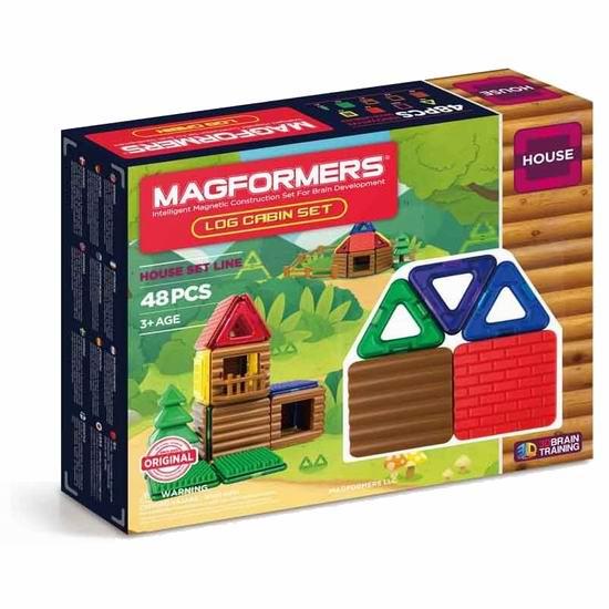 Magformers Log Cabin 益智磁力积木48件套4.5折 35.07加元包邮!