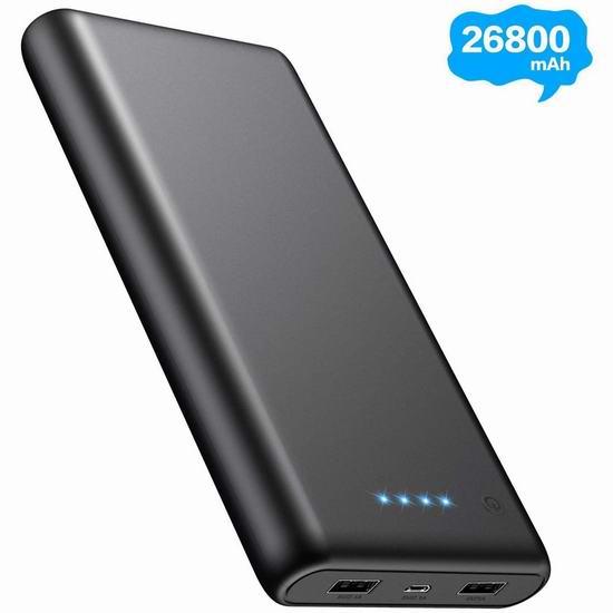 Pxwaxpy 26800mAh 大容量便携式 移动电源/充电宝 23.45加元限量特卖!