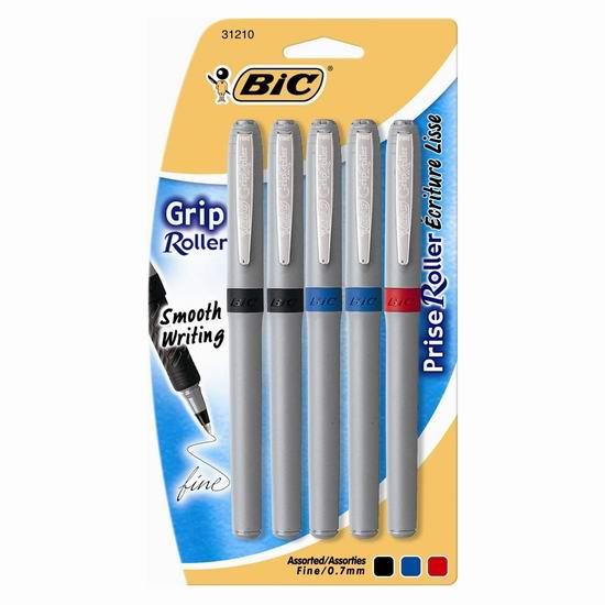 白菜价!历史新低!BIC Grip 精细圆珠笔5支装(含3色)1.5折 1加元清仓!