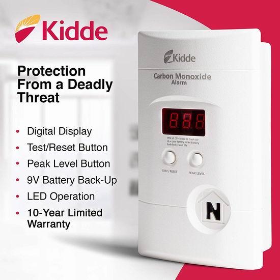 近史低价!Kidde 900-0076-05 壁插式 双电源 一氧化碳探测报警器4.5折 41.08加元包邮!带浓度显示!