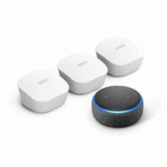 新品 Amazon eero mesh WiFi 无线网状系统3件套6.7折 279加元包邮!送价值69.99加元Echo dot智能音箱!