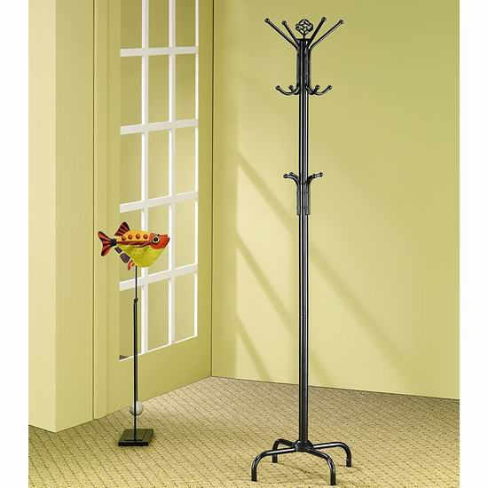 历史新低!Coaster Home Furnishings 1.85米 12挂钩 经典黑色衣帽架4折 19.97加元!