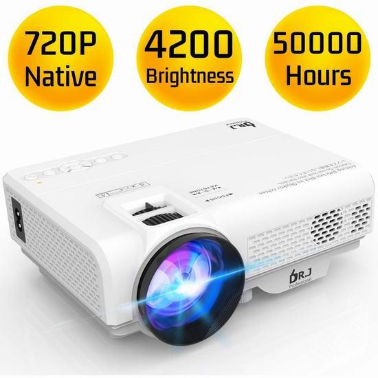 DR. J Professional 4200流明 家庭影院LED投影仪 119.99加元包邮!