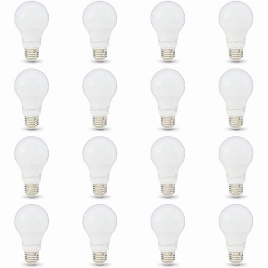 AmazonBasics A19 40瓦等效 LED节能灯16件套 27.95加元!2色温可选!