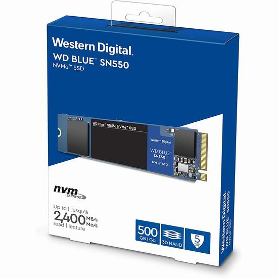 历史新低!WD Blue SN550 500GB NVMe SSD 固态硬盘 74.99加元包邮!