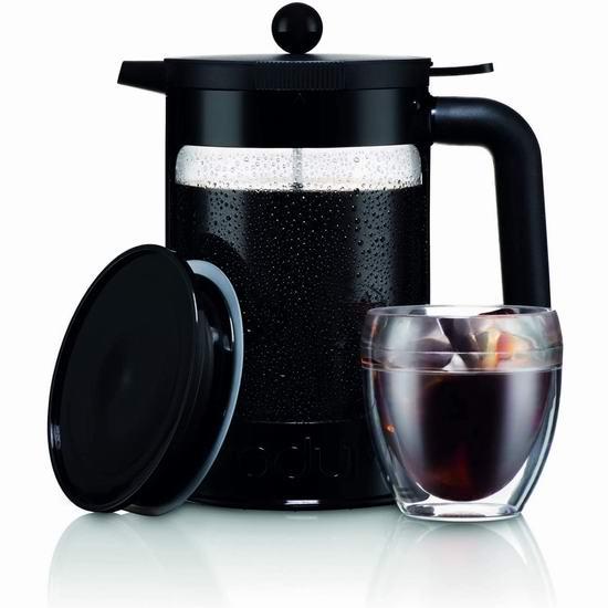 历史新低!Bodum K11683-01WM 冷萃法压 1500ml大容量 滤压冰咖啡壶 18.74加元!