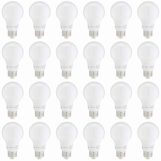 AmazonBasics A19 60瓦等效 软白 LED节能灯24件套 30.99加元!