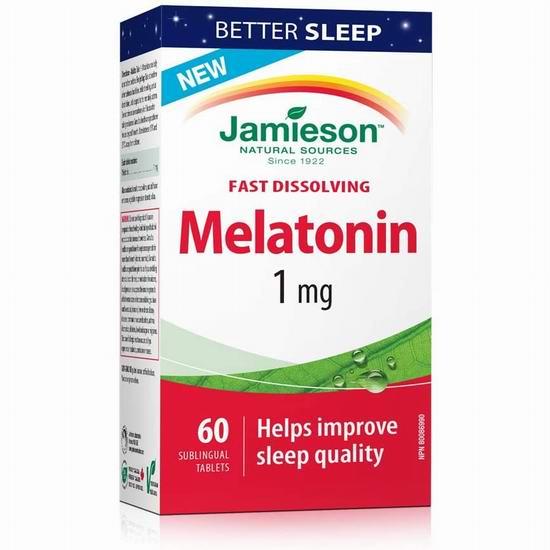 历史新低!Jamieson 健美生 Melatonin 1 Mg 速溶褪黑素片(60粒)4.7折 3.07加元!
