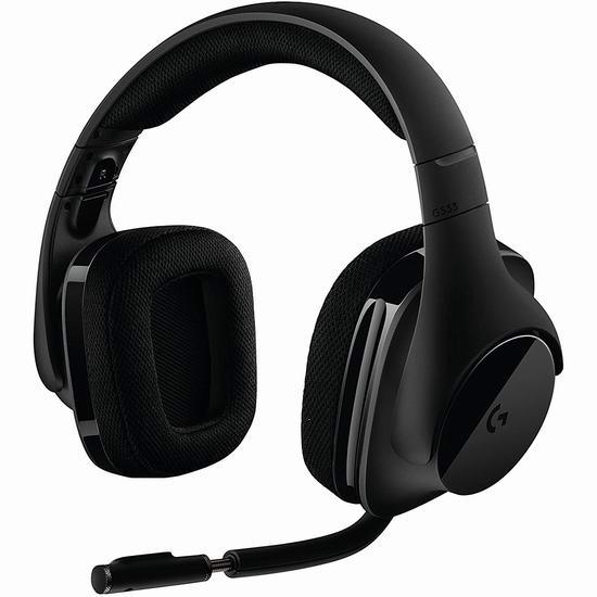 近史低价!Logitech 罗技 G533 DTS 7.1无线环绕声 专业级游戏耳机5折 99.99加元包邮!