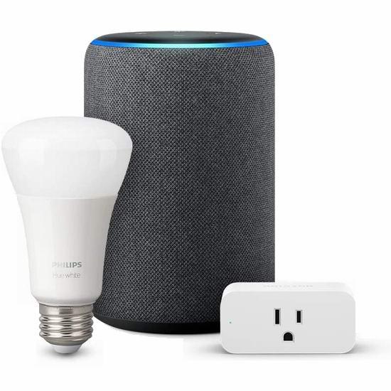 历史新低!第二代 Echo Plus 家居控制 智能音箱4.7折 119.99加元包邮!送Phillips Hue智能灯泡+智能插座!3色可选!