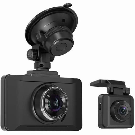 超级白菜!TaoTronics 1080P 全高清 前后双摄像头 行车记录仪0.6折 9.99加元清仓!