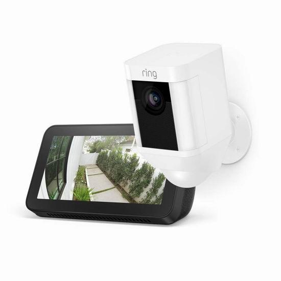 Ring Spotlight Cam 双向语音/警笛 家庭安防摄像头6.8折 239.99加元包邮!送价值99.99加元Echo Show 5智能显示屏!2色可选!