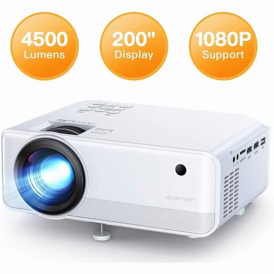 APEMAN 4500流明 家庭影院LED高清投影仪 7.6折 129.99加元包邮!