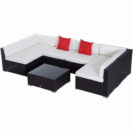 Outsunny 庭院软垫藤条沙发+茶几7件套 899.99加元包邮!