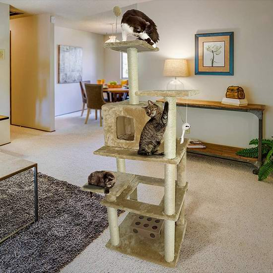 Furhaven Pet Tiger Tough 大号 多层猫爬架4.3折 85.61加元包邮!
