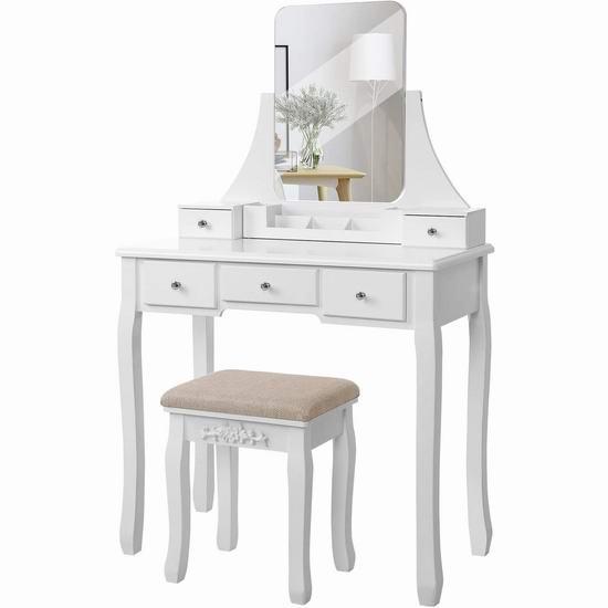 VASAGLE URDT25W 白色复古梳妆台桌椅套装 169.99加元包邮!