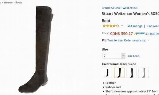 手慢无!Stuart Weitzman 5050 女式平底过膝长靴(7码)4.5折 390.27加元包邮!朱莉同款!