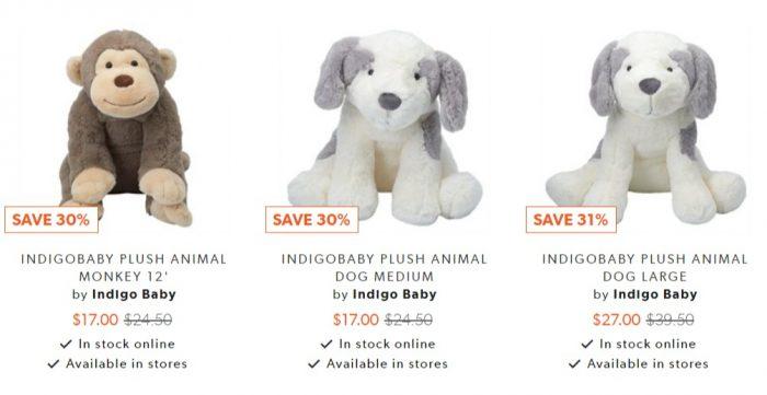 Indigo Baby儿童毛绒玩具 6.7折 11加元起
