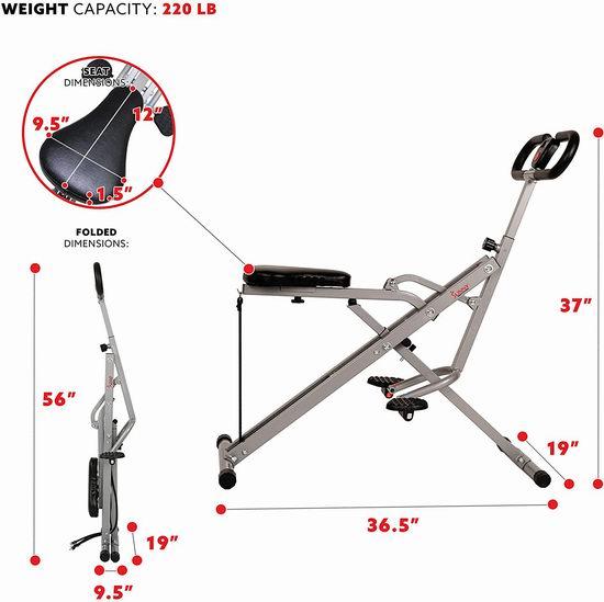 折扣升级!Sunny Health & Fitness Row-N-Ride NO. 077 辅助锻炼健身瘦身 深蹲翘臀机 124.97加元包邮!