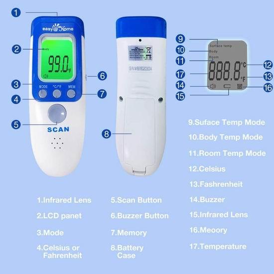 Easy@Home NCT-301 三合一 非接触式 红外数字温度计/体温计/额温枪 67.31加元包邮!