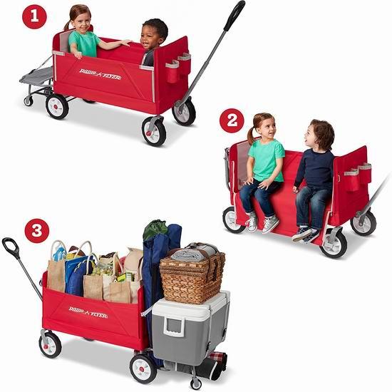 历史最低价!Radio Flyer 3合1 可折叠双人儿童拖车 129.99加元包邮!