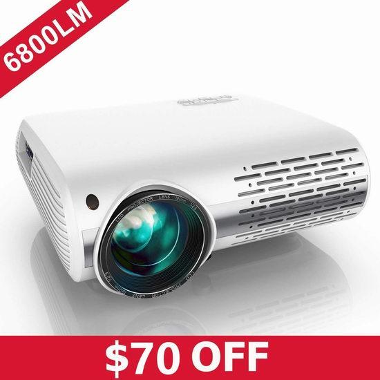 YABER 6800流明 1080P全高清 家庭影院LED投影仪 279.99加元包邮!