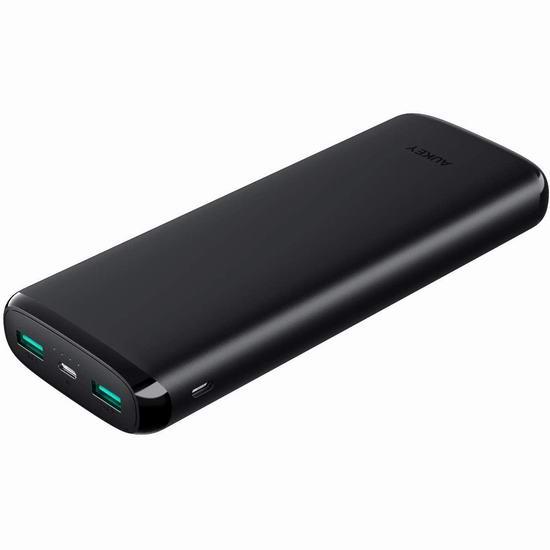 历史新低!Aukey 20000mAh 双口便携式快速充电移动电源/充电宝 24.99加元!具有低电流模式!